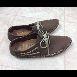 Hush Puppies Aztec Stitched Brown Moccasins